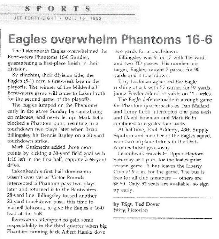 Eagles Overwhelm Phantoms