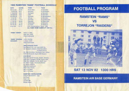 Ramstein Rams 13 Nov 82 Front and Back