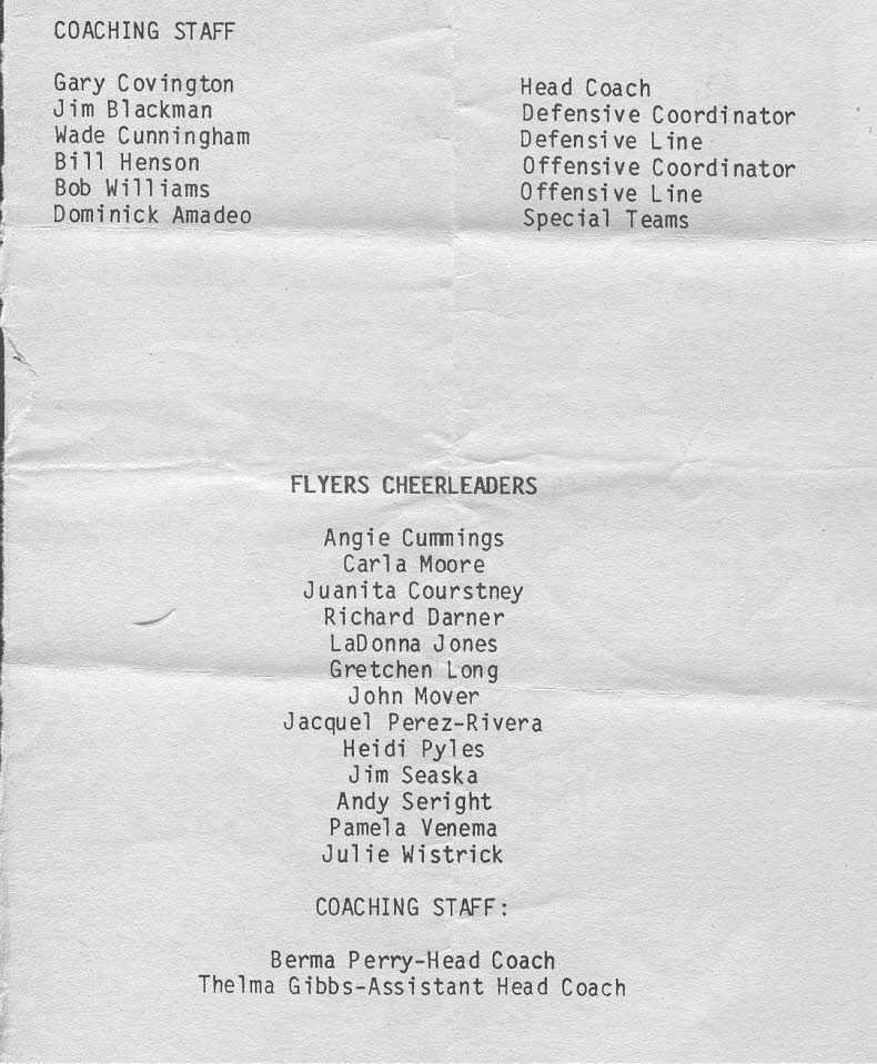 Wiesbaden Flyers 1987 Coaches and Cheer